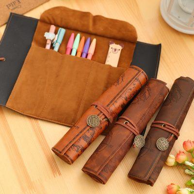 Premium Vintage Design Leather Pen and Pencil Case