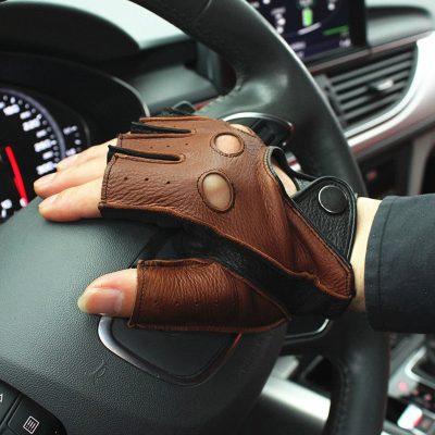 Handmade Half Finger-less Driving Leather Gloves
