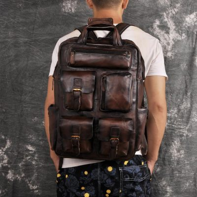 Quality Leather Travel College Backpack
