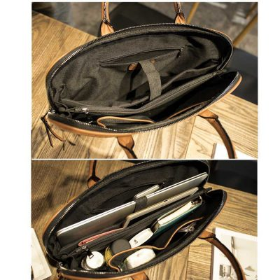 Leather Business Messenger Bag for Men
