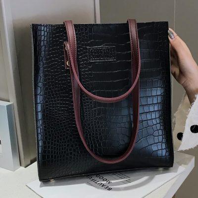 Crocodile Pattern Women Leather Shoulder Bag