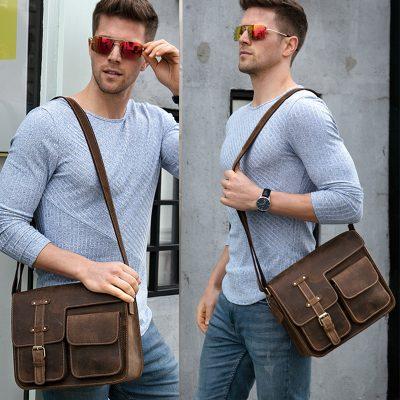 Genuine Leather Vintage Messenger Bag For Men