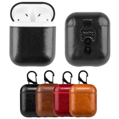 Leather Case Cover for AirPods with Hook