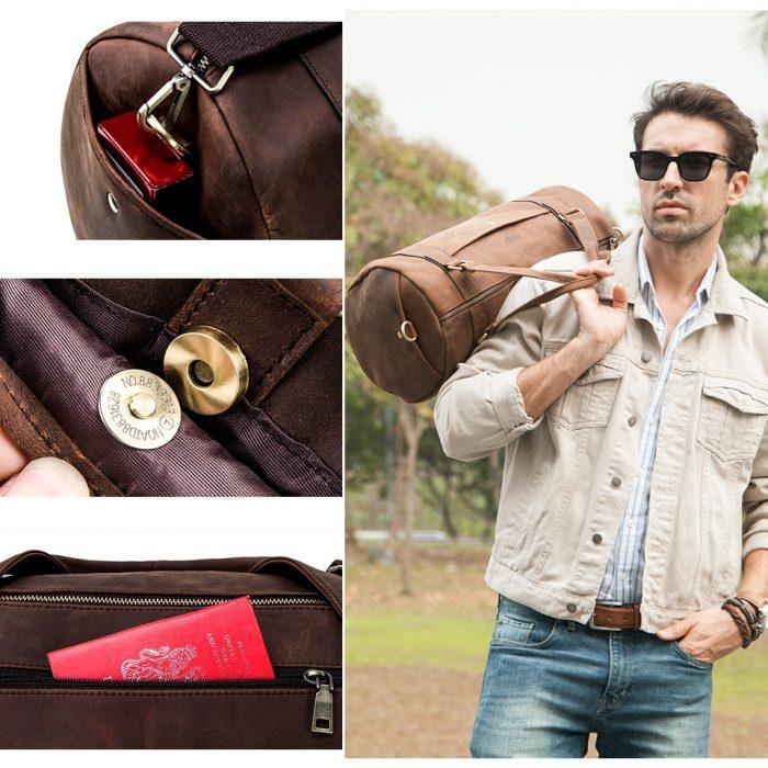 Genuine Leather Travel Bag for Men